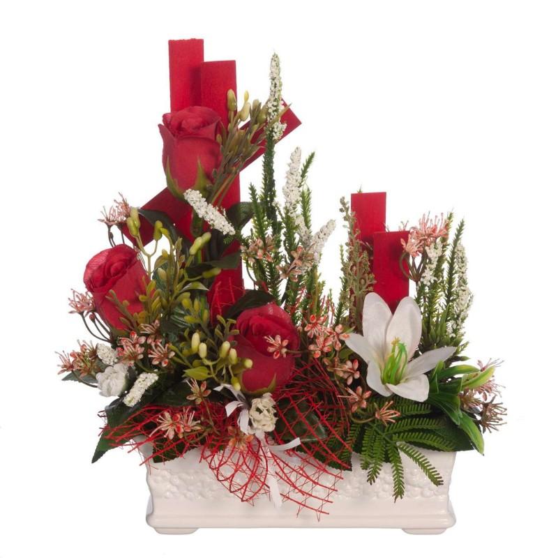 Jardinera rosas artificiales rojas y lilium blanco - Flor artificial - Funerario - Jardineras y centros artificiales