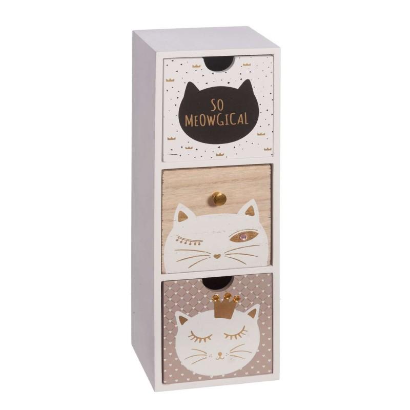 Cajonera 3 cajones gato blanca - Decoración y complementos - Hogar