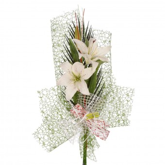 Ramo artificial lilium blanco con hojas y malla - Flor artificial - Funerario - Jardineras y centros artificiales