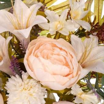 Ramo peonías y mun artificiales crema · Funerario · Ramos flores artificiales
