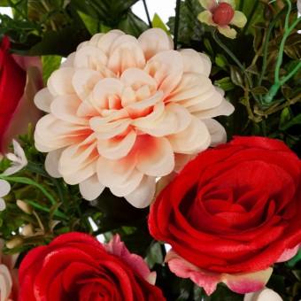 Ramo rosas artificiales rojas y dalias bicolor 60 · Funerario · Ramos flores artificiales