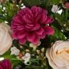 Ramo rosas artificiales beige y dalias malva 60 · Funerario · Ramos flores artificiales