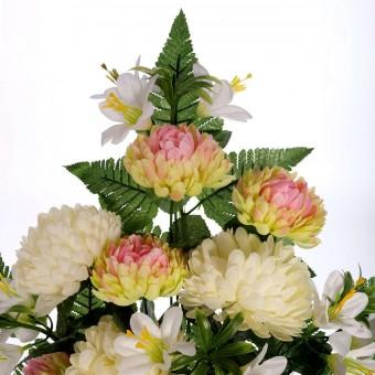 Ramo mun artificiales bicolor y lilys blancas - Flor artificial - Funerario - Ramos flores artificiales 4