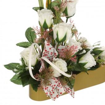 Jardinera rosas artificiales blancas 35 - Funerario - Jardineras, arreglos y centros artificiales 2