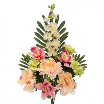 Ramo peonías y delphiniums artificiales bicolor 58 - Funerario - Ramos flores artificiales