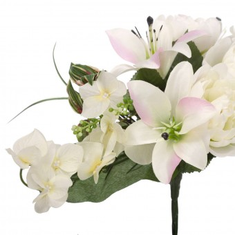 Ramo peonías y liliums artificiales crema 50 · Funerario · Ramos flores artificiales · La Llimona home