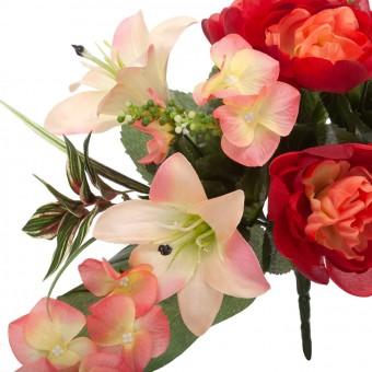 Ramo peonías y liliums artificiales rojo 50 - Funerario - Ramos flores artificiales - La Llimona home 4