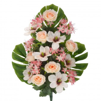 Ramo rosas y magnolias artificiales salmón 60 - Funerario - Ramos flores artificiales