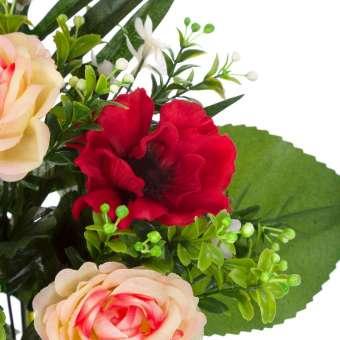 Ramo anémonas artificiales rojas, rosas y alstroemerias 50 · Funerario · Ramos flores artificiales · La Llimona home