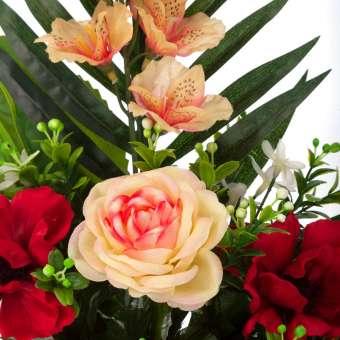 Ramo anémonas artificiales rojas, rosas y alstroemerias 50 - Funerario - Ramos flores artificiales - La Llimona home 3