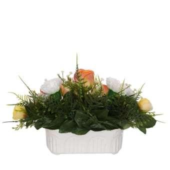 Jardinera rosas artificiales naranja y claveles 19 - Funerario - Jardineras, arreglos y centros artificiales - La Llimona home 5