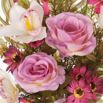 Ramo rosas y orquídeas artificiales malva 58 - Funerario - Ramos flores artificiales - La Llimona home 3