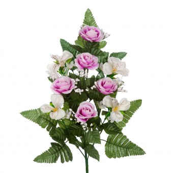 Ramo rosas artificiales alstroemerias rosadas 50 · Funerario · Ramos flores artificiales cemeterio · La Llimona home
