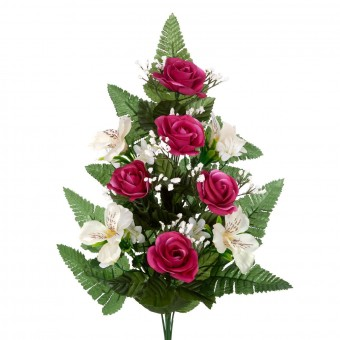Ramo rosas artificiales alstroemerias burdeos 50 · Funerario · Ramos flores artificiales cemeterio · La Llimona home