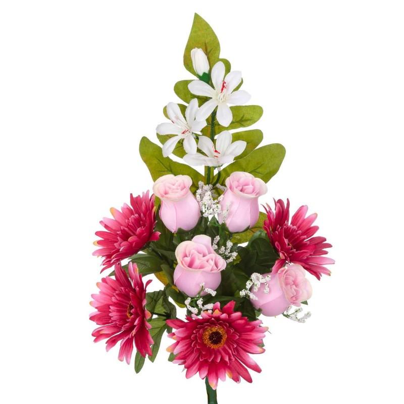 Ramo rosas artificiales gerberas rosadas 45 · Funerario · Ramos flores artificiales cemeterio · La Llimona home