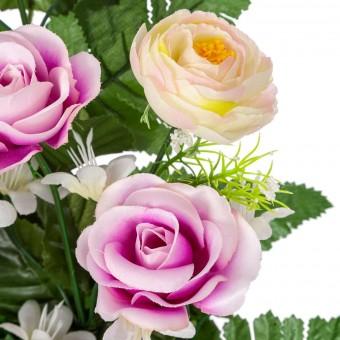 Ramo rosas y ranúnculos artificiales lila 50 · Funerario · Ramos flores artificiales cemeterio · La Llimona home