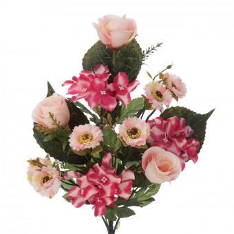 Ramo rosas y alstroemerias artificiales fucsia 38 · Funerario · Ramos flores artificiales · La Llimona home