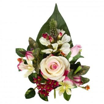 Ramo rosas y cymbidiums artificiales bicolor 32 · Flor artificial · Funerario · Ramos flores artificiales cementerio