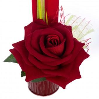 Arreglo floral rosa artificial roja de terciopelo con maceta 25 · Jardíneras y centros flores artificiales cementerio