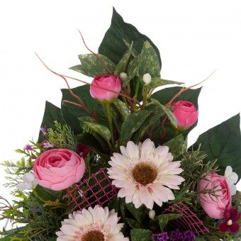 Jardinera ranúnculos rosados artificiales gerberas 32 · Funerario · Jardineras, arreglos y centros
