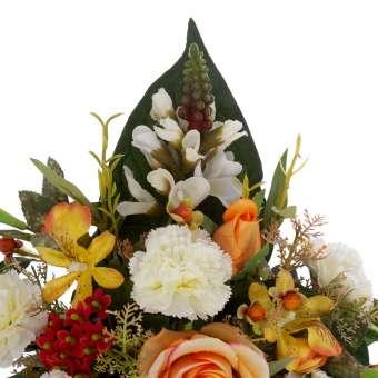 Jardinera clavellinas cymbidiums artificiales rosas naranjas 28 · Funerario · Jardineras, arreglos y centros artificiales.