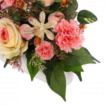 Jardinera clavellinas cymbidiums artificiales rosas salmón 28 · Funerario · Jardineras, arreglos y centros artificiales