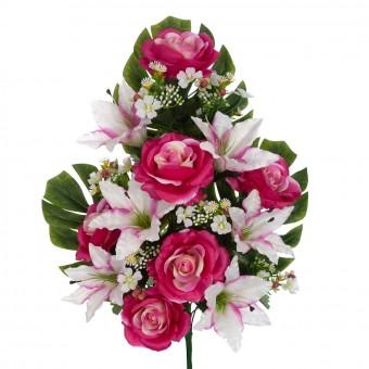 Ramo liliums y rosas artificiales malva 62 · Flor artificial · Funerario · Ramos flores artificiales cementerio
