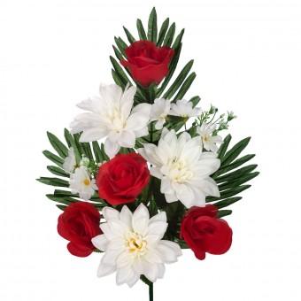Ramo dalias y rosas artificiales rojas 44 · Flor artificial · Funerario · Ramos flores artificiales cementerio