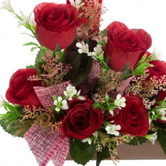 Jardinera rosas rojas artificiales moka 31 · Funerario · Jardineras, arreglos y centros artificiales