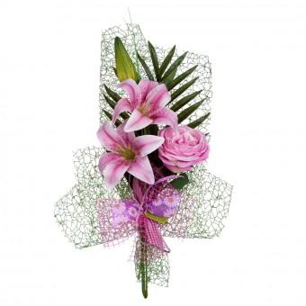 Ramo artificial lilium rosado rosa provenza con hojas y malla · Funerario · Jardineras y centros artificiales · La Llimona home