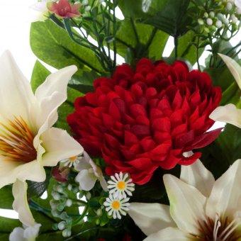 Ramo clematis y mums artificiales rojo 60 · Flor artificial · Funerario · Ramos flores artificiales cementerio