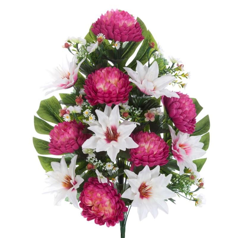 Ramo clematis y mums artificiales malva 60 · Flor artificial · Funerario · Ramos flores artificiales cementerio
