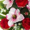 Ramo magnolias y rosas artificiales rojo 60 · Flor artificial · Funerario · Ramos flores artificiales cementerio