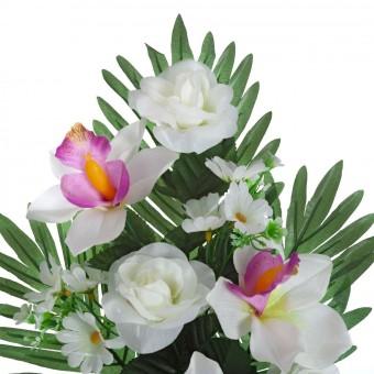 Ramo rosas y orquídeas artificiales blancas 44 · Flor artificial · Funerario · Ramos flores artificiales cementerio