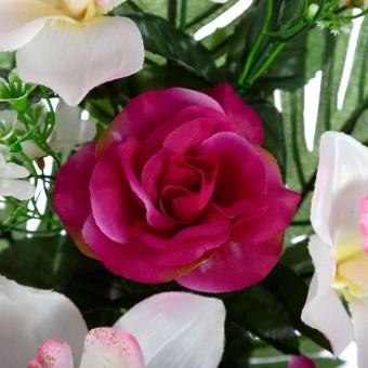 Ramo rosas y orquídeas artificiales bicolor 44 · Flor artificial · Funerario · Ramos flores artificiales cementerio