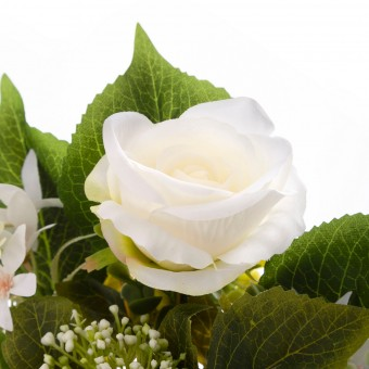 Ramo hortensias y rosas artificiales blancas 50 · Funerario · Ramos flores artificiales cementerio · La Llimona home