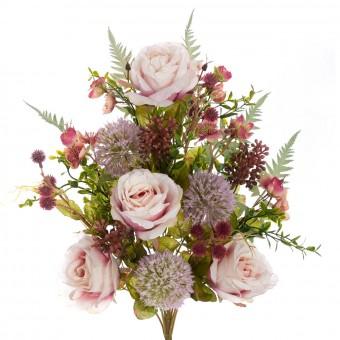 Ramo rosas y alliums artificiales rosadas 52 · Funerario · Ramos flores artificiales cementerio · La Llimona home