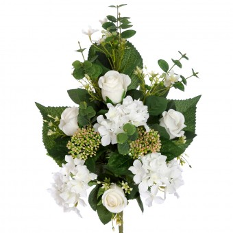 Ramo rosas y hortensias artificiales blancas 52 · Funerario · Ramos flores artificiales cementerio · La Llimona home