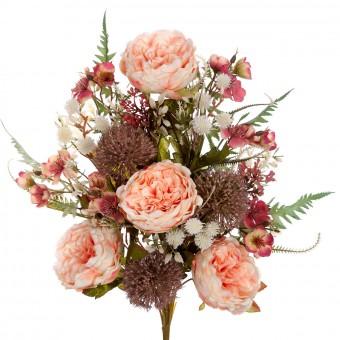 Ramo rosas tudor y alliums artificiales salmón 50 · Funerario · Ramos flores artificiales cementerio · La Llimona home