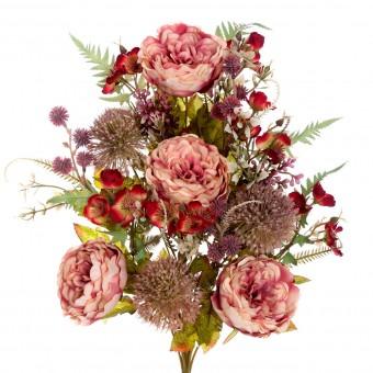 Ramo rosas tudor y alliums artificiales rosa 50 · Funerario · Ramos flores artificiales cementerio · La Llimona home