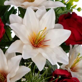 Ramo rosas y dalias artificiales rojas 63 · Funerario · Ramos flores artificiales cementerio · La Llimona home