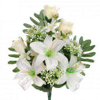 Ramo liliums y rosas artificiales crema 41 · Funerario · Ramos flores artificiales cementerio · La Llimona home