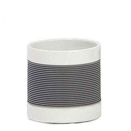 Vaso de baño Gina con bandas gris. Alto: 8 cms.