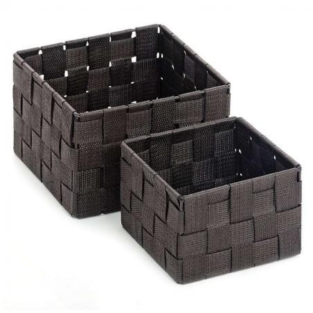 Set de dos paneras de baño zinia chocolate cuadradas. Alto: 12 y 10 cms.