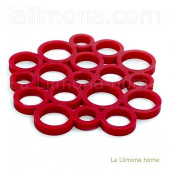 Salvamanteles silicona circulos rojo · Cocina y mesa