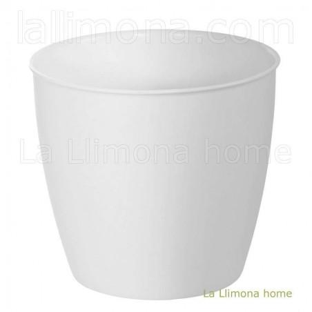 Maceta de plástico con ruedas presto blanca. Alto: 37 cms.