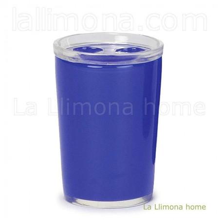 Vaso baño line azul. Alto: 10 cms.