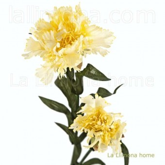 Flor clavel artificial amarillos hojas 52 · Flores artificiales