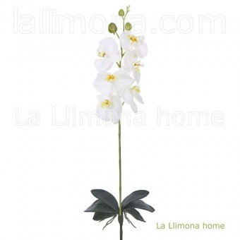 Rama orquídea artificial latex crema hojas 85 · Flores artificiales