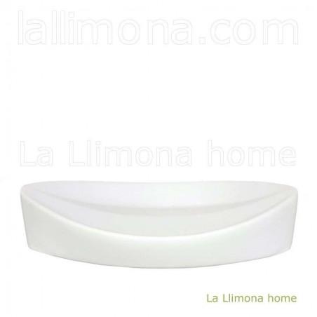 Jabonera de baño pirámide blanca. Largo: 13.50 cms.